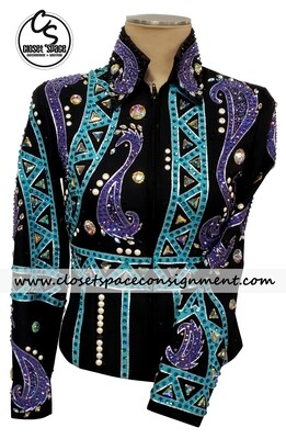 ​'The Ultimate by Jean' Black, Turquoise & Purple Jacket