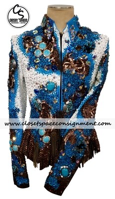 ​'Trudy' Chocolate, White & Turquoise Fringe Jacket