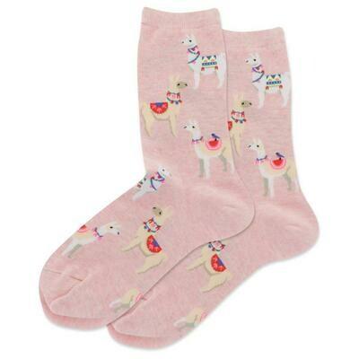 Women's Pink Alpaca Crew Socks