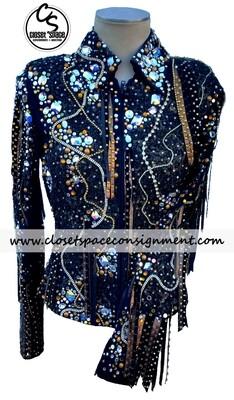'Trudy' Black & Gold Fringe Jacket