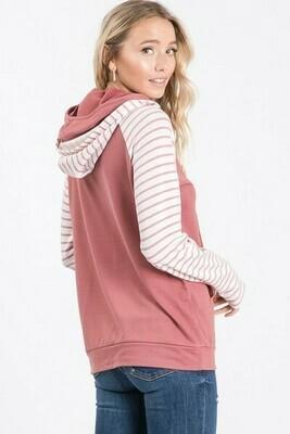 Marsala Striped Side Zip Hoodie