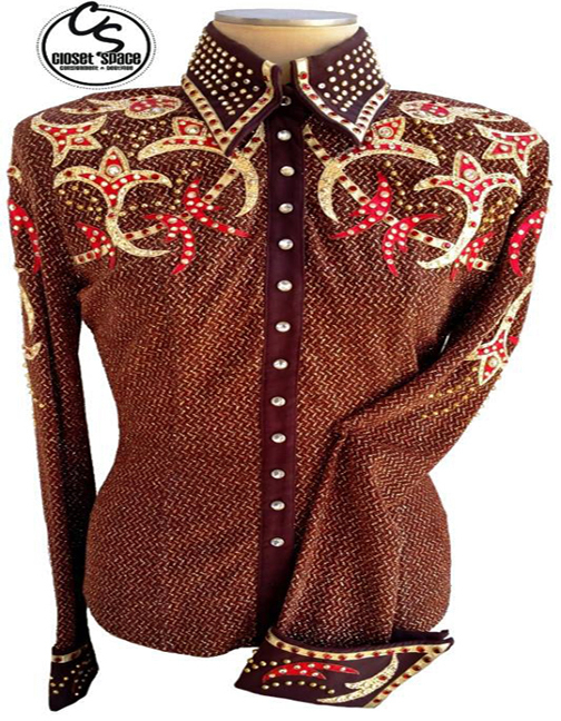 ​'Showtime' Brown, Red & Gold Pleasure Shirt 4JB2