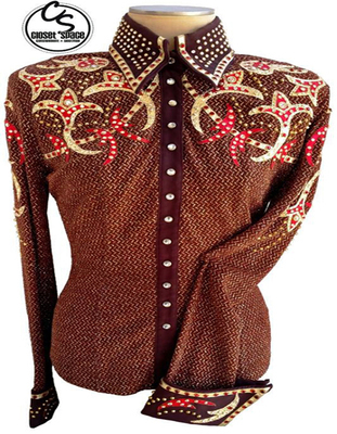​'Showtime' Brown, Red & Gold Pleasure Shirt