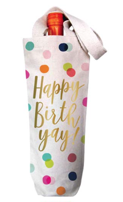'Happy Birth Yay' Wine Bag