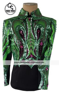 'Wicked Crystals by Christie' Black, Green & Pink Top - NEW