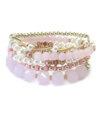 Pink Multi Bead & Pearl Stretch Bracelet