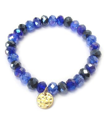 Blue Beads with Gold Charm Stretch Bracelet