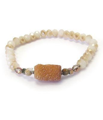 Natural Beads & Stone Stretch Bracelet