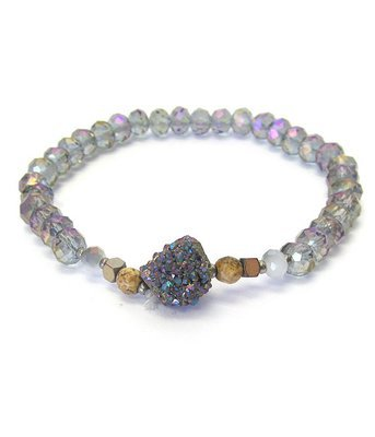 Gray Iridescent Beads & Rock Stretch Bracelet