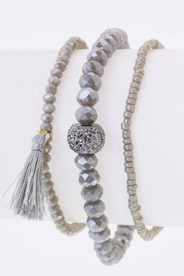 Gray Mix Charm Multi Strand Stretch Bracelet
