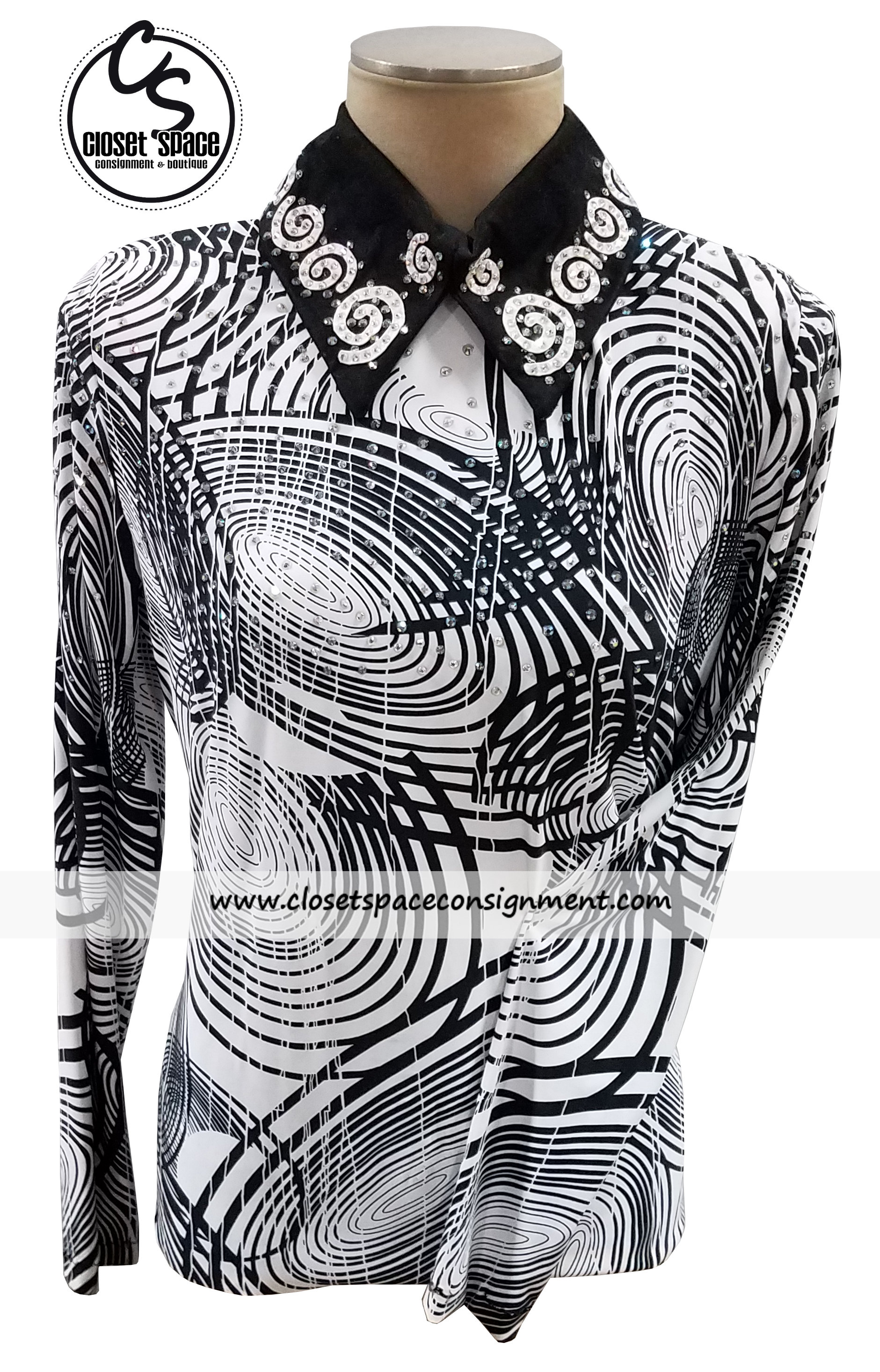 Black & White Swirl Top 4TS8