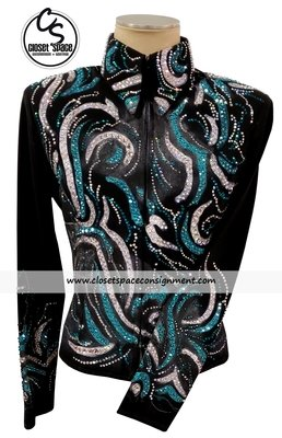 ​'Batya' Black, Turquoise & Silver Hand Painted Jacket