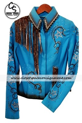 ​'Fine Designs by Ronda' Turquoise & Rust Fringe Jacket