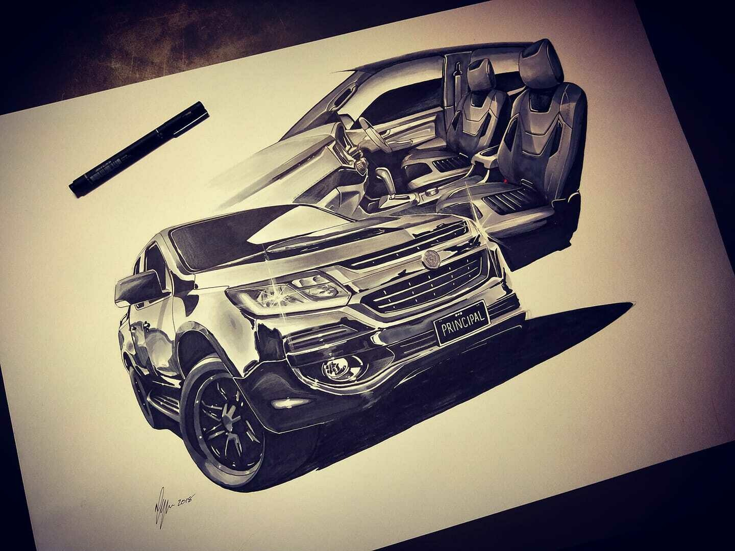 Hand Drawn Artwork of YOUR Car or Motorbike