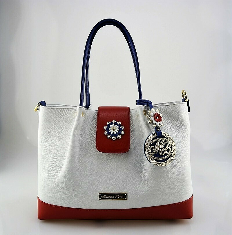 Shopper Bag Mod.  Mirtilla  Leather  white, red,  blue