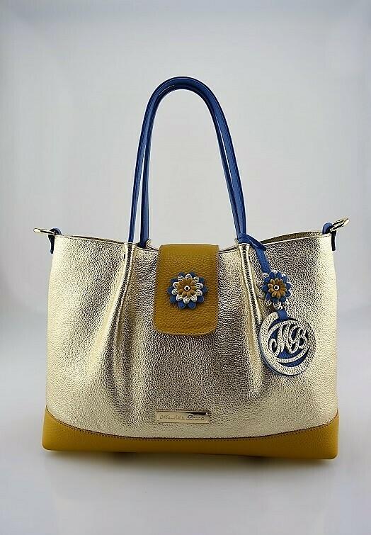 Shopper Bag Mod.  Mirtilla Leather  gold, mustard color, light blue