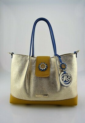 Shopper Bag Mod.  Mirtilla Leather  gold, mustard color, light blue