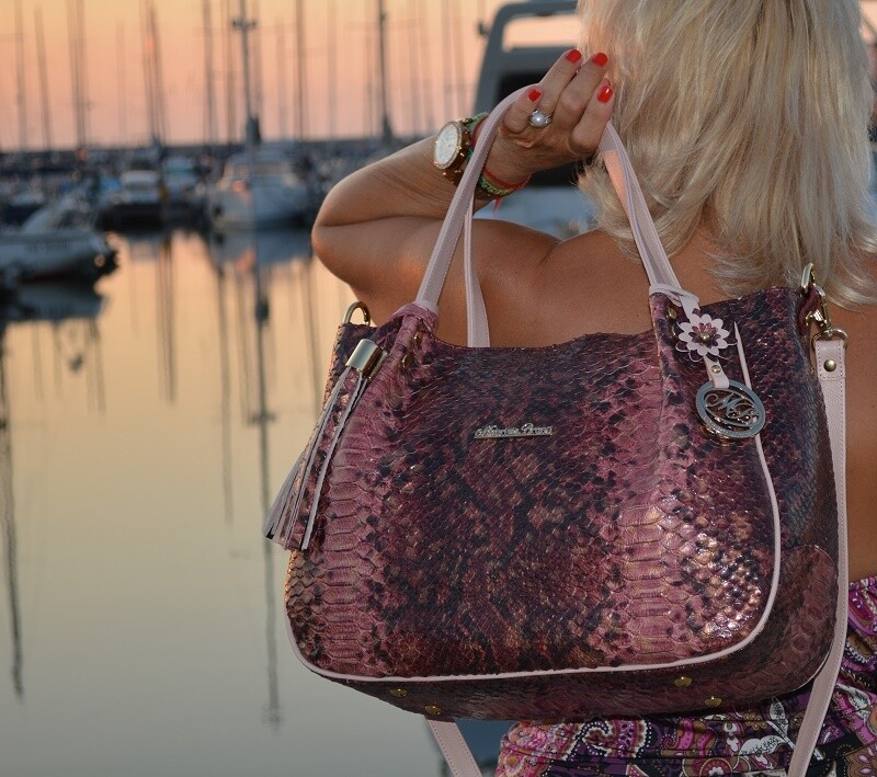 Bag Mod. Carmen Natural Leather , python printed