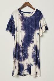 Girls Tye-Dye Ruffle Sleeve Dress