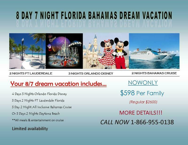 8 Day 7 Night Fla Bahamas Vacation Package with 5/4 Las Vegas bonus vacation