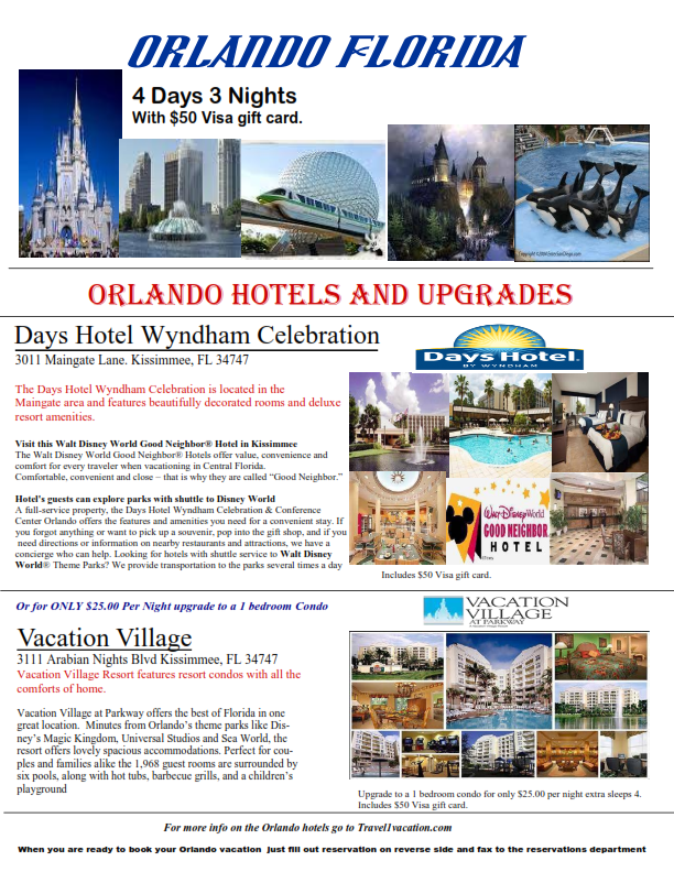 4 Days 3 Nights Orlando Florida minutes from all the theme parks!