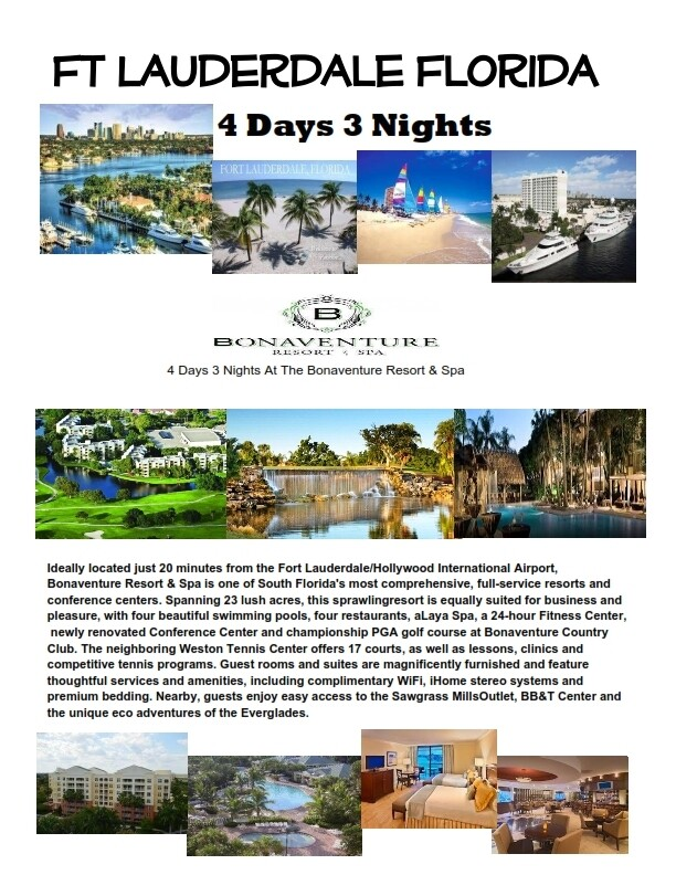 4 Days 3 Nights Fort Lauderdale Luxury Bonaventure Resort & Spa