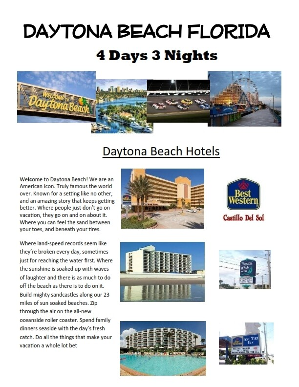 4 Days 3 Nights Daytona Beach Florida Oceanside resort