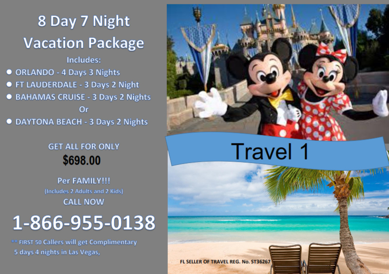 8 Day 7 Night Fla Bahamas Vacation Package with 5/4 Las Vegas bonus vacation BEST VALUE!!! LIMITED TIME!!!!