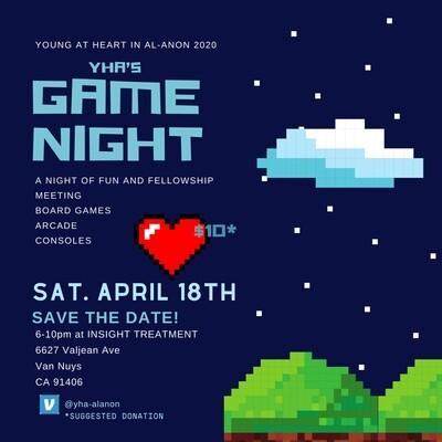 YHA's Game Night Pre-Reg