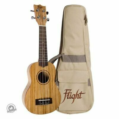 Flight: DUS322 Soprano Ukulele - Zebrawood (With Bag)