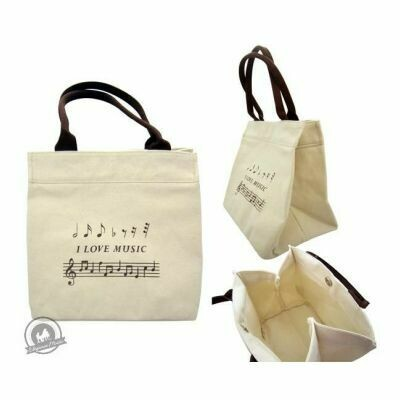 Mini Cotton Tote Bag With I Love Music Design