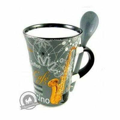 Cappuccino Mug With Spoon - Saxophone (Grey)