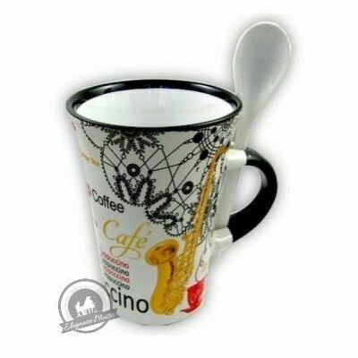 Cappuccino Mug With Spoon - Saxophone (White)