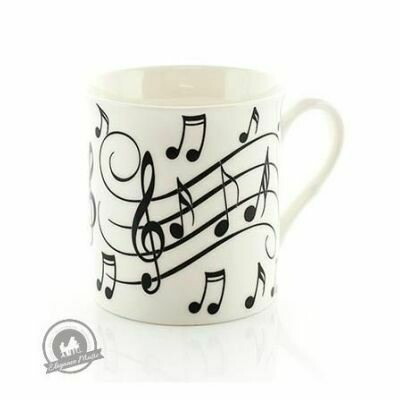 Mug - Music Notes - Black On White