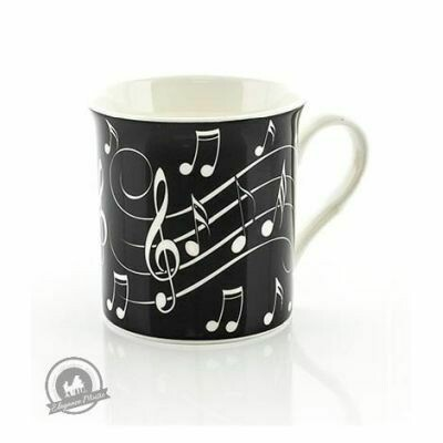 Mug - Music Notes - White On Black