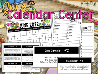 June Calendar Center Task Cards