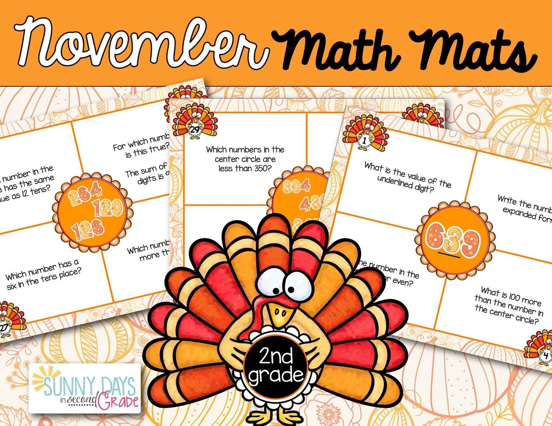 November Math Mats  - Second Grade