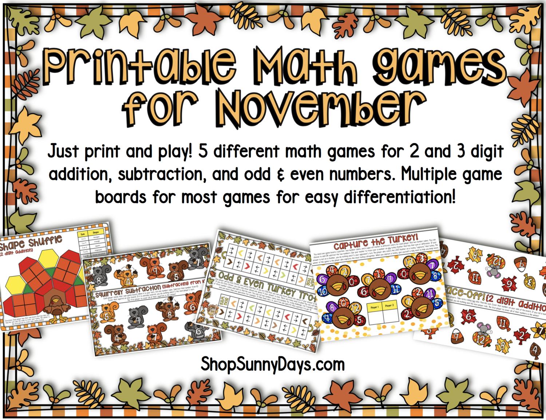 November Math Games