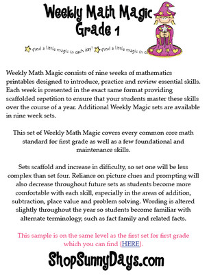 First Grade CCSS Weekly Math Magic