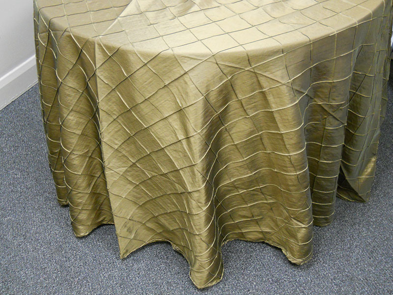 "2-inch Pintuck Taffeta Tablecloth (118"" Diameter, Bronze)"