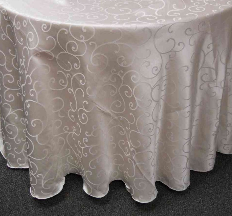 "Swirl Damask Tablecloth (132"" Diameter, Ivory) 00024"