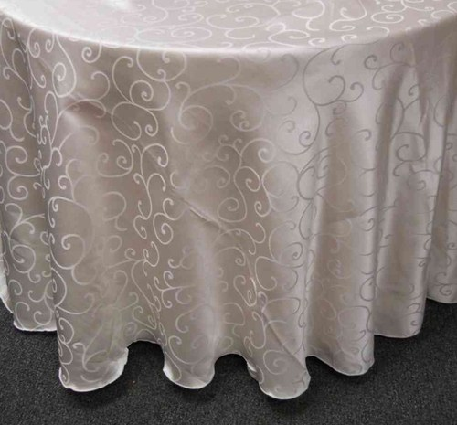 "Swirl Damask Tablecloth (132"" Diameter, Ivory)"