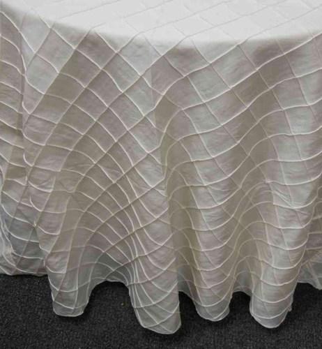 "2-inch Pintuck Taffeta Tablecloth (132"" Diameter, Ivory)"