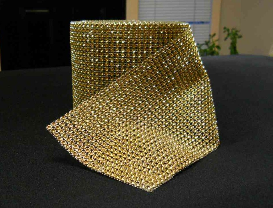 Rhinestone Mesh Buckle Roll (10 yards, Gold) 00079