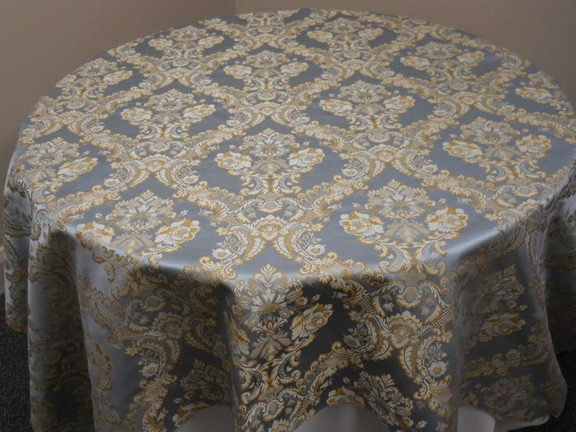"Napoleon Damask Tablecloth - 120"" Round"