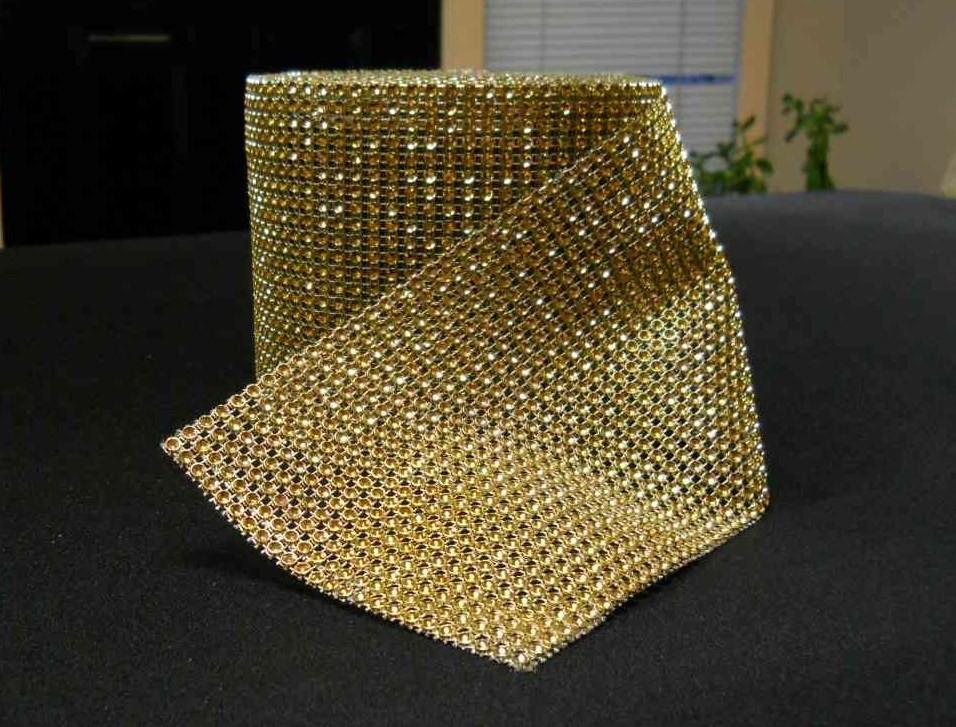 Rhinestone Mesh Buckle Roll (10 yards, Gold)