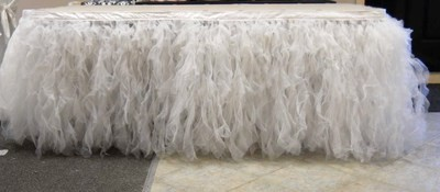 Organza Curled Willow Skirt (White)