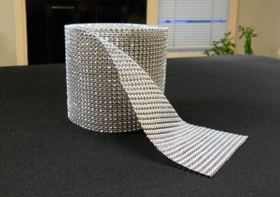 Rhinestone Mesh Buckle Roll (10 yards, Silver)