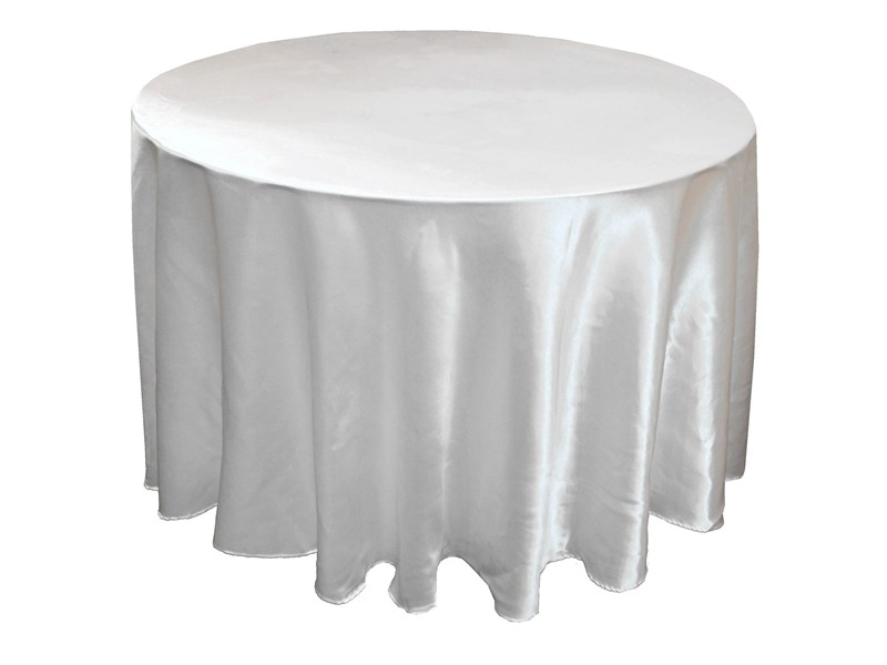 "Poly Satin Tablecloth (132"" Diameter, White)"