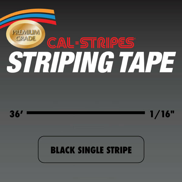 Cal-Stripes® Black Single Pinstriping Tape- 1/16